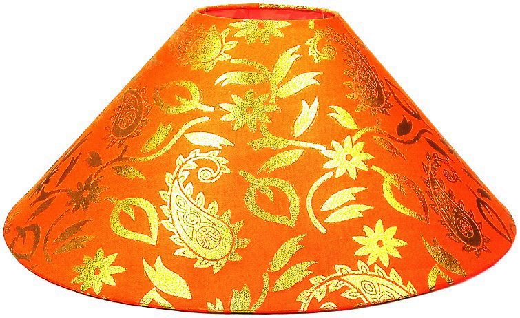 RDC 13 Inches Round Orange with Golden Designer Lamp Shade for Table Lamp
