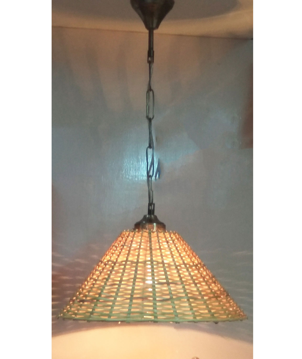 RDC 13 Inches Round Cane Ceiling Hanging Pendant Lamp Shade with Wired Metal Chain