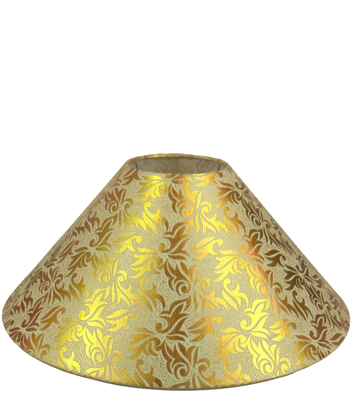 RDC 13 Inches Round Cream with Golden Designer Lamp Shade for Table Lamp
