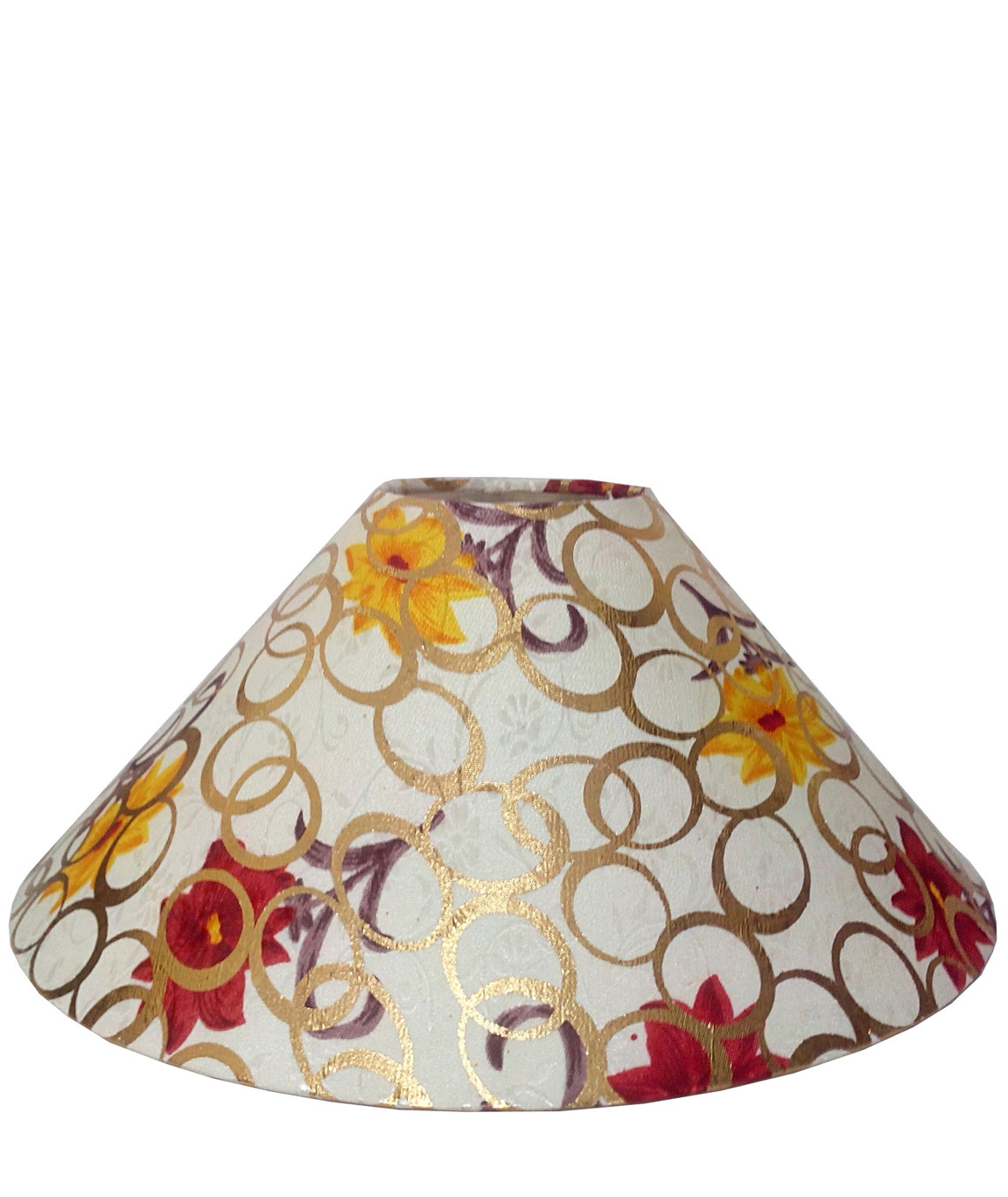 RDC 13 Inches Round Cream with Golden Polka Dots Flower Design Lamp Shade for Table Lamp