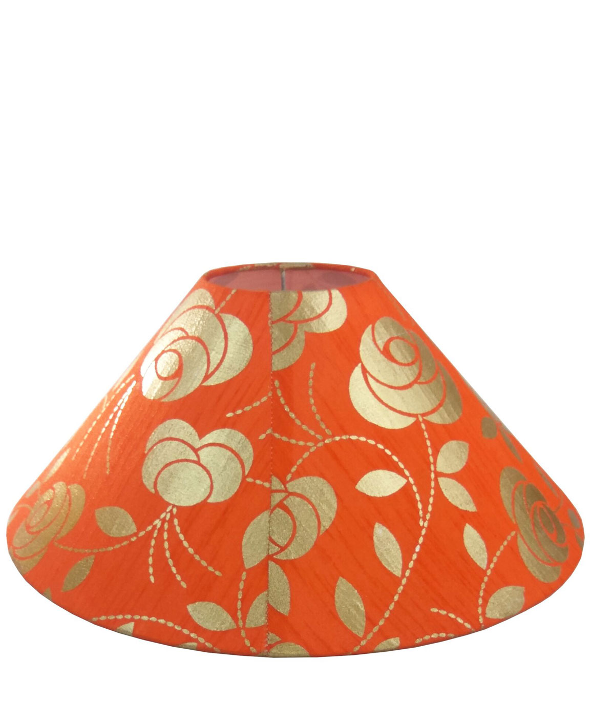 RDC 13 Inches Round Orange with Golden Floral Design Lamp Shade for Table Lamp