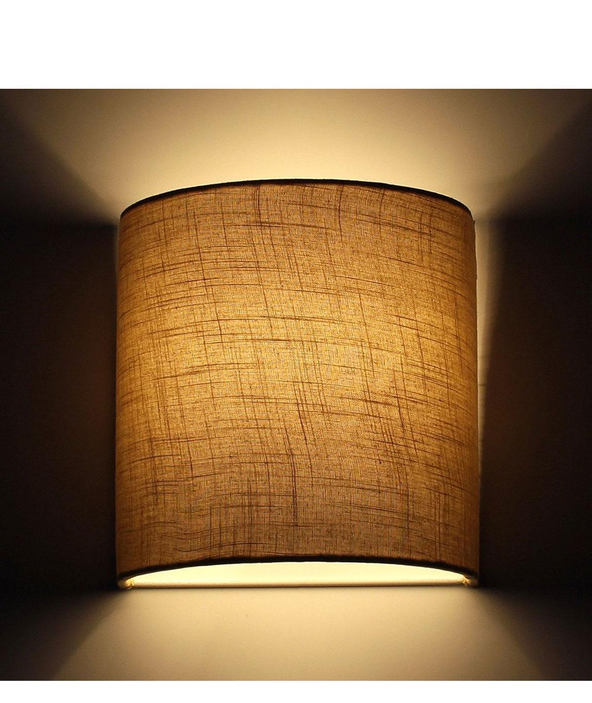 RDC 23 CMS Sand Brown Jute Half-Cylindrical Wall Hanging Lamp Shade