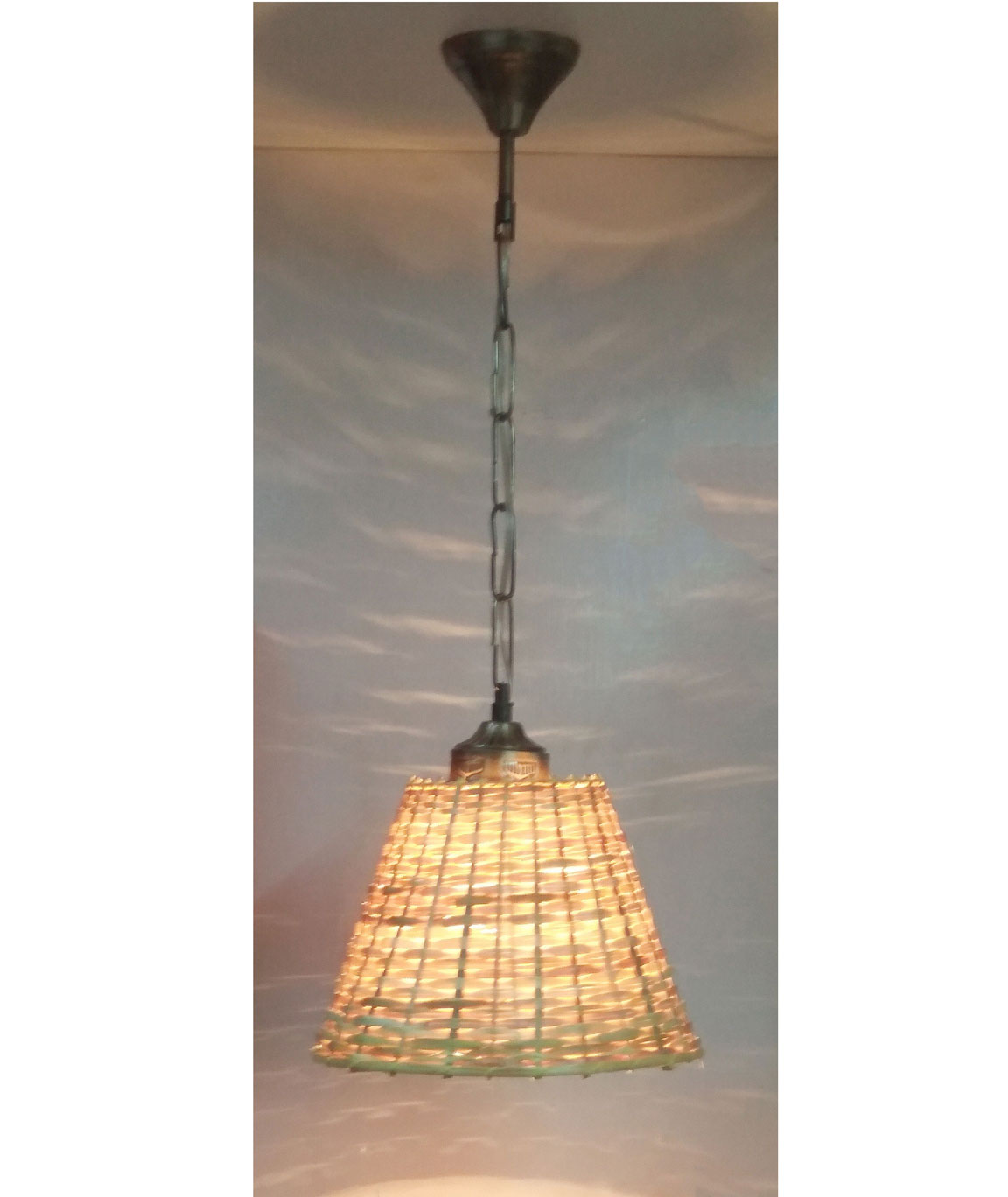 RDC 8 Inches Round Cane Ceiling Hanging Pendant Lamp Shade with Wired Metal Chain