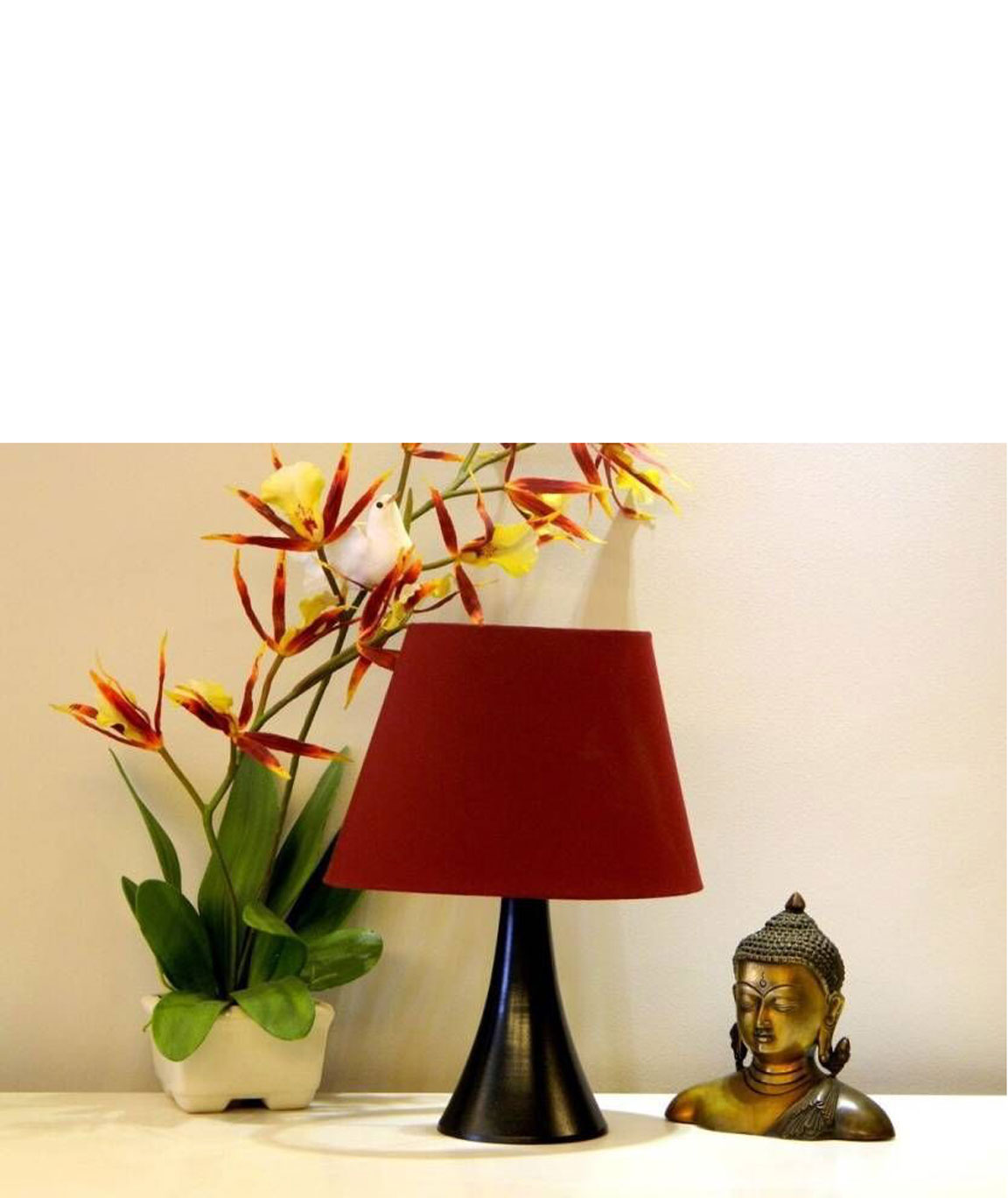 RDC Black Conical Stand Table Lamp with 10 Inches Oval Plain Maroon Lamp Shade