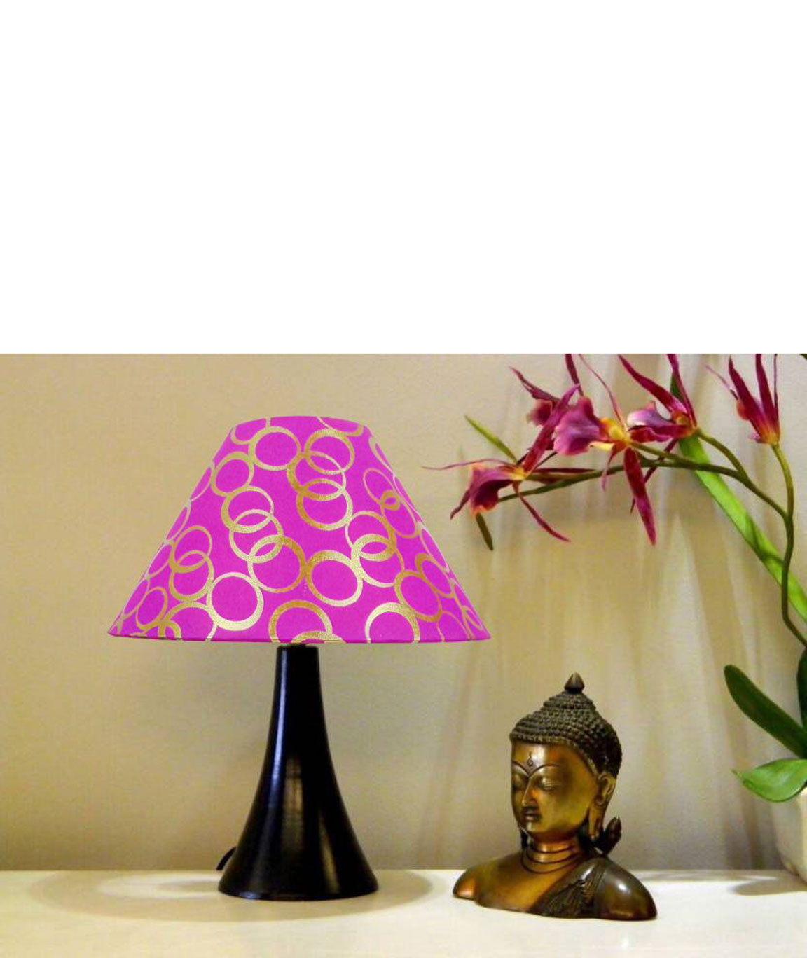 RDC Black Conical Stand Table Lamp with 10 Inches Round Pink Golden Polka Dots Designer Lamp Shade