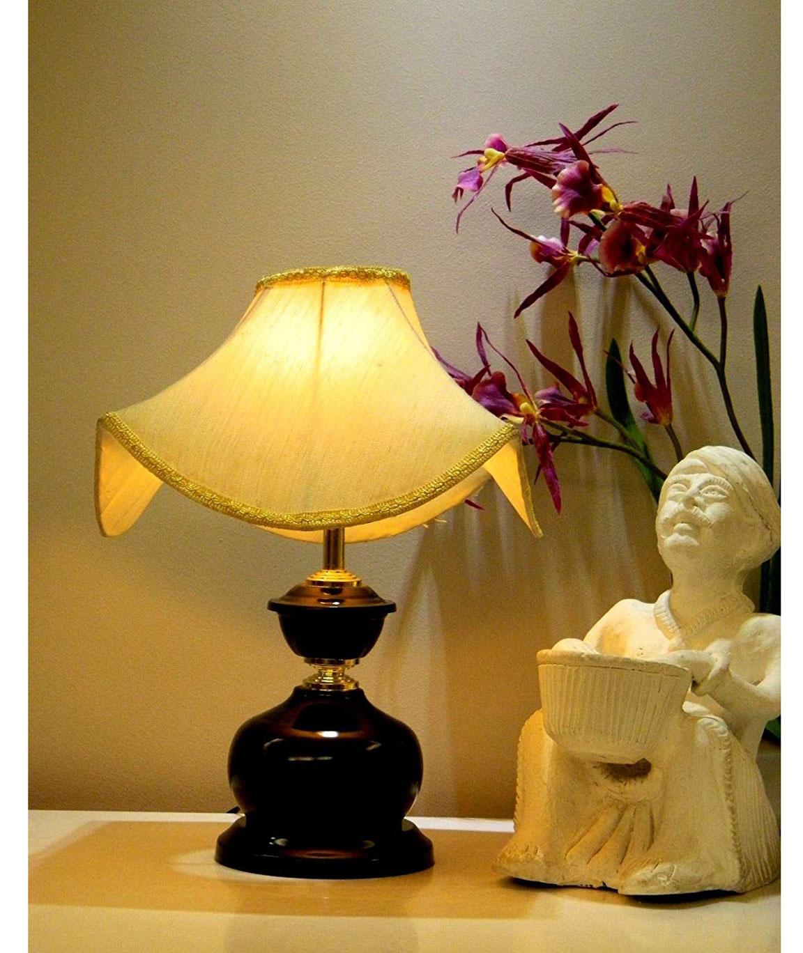 RDC Black Designer Table Lamp with 10 Inches Pagoda Cream-khadi with Lace Border Lamp Shade