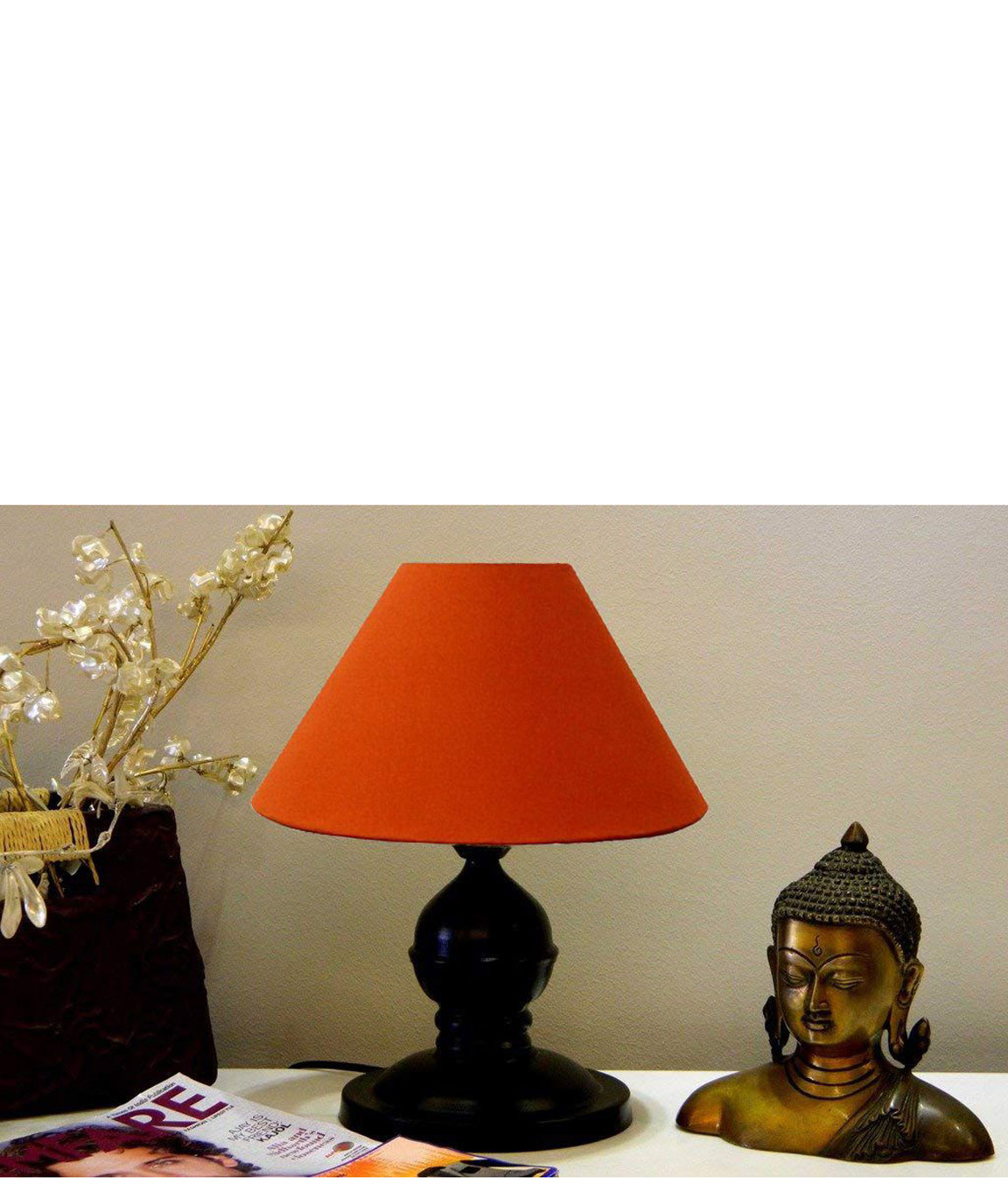 RDC Black Designer Table Lamp with 10 Inches Round Plain Rust-coloured Lamp Shade