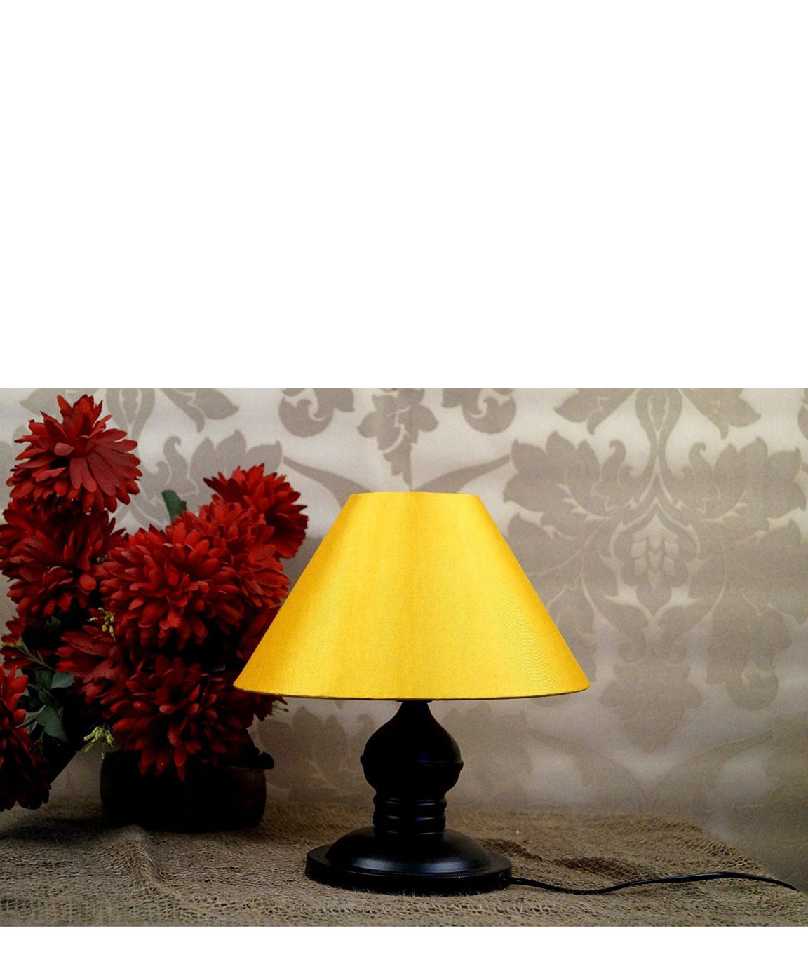RDC Black Designer Table Lamp with 10 Inches Round Plain Yellow Lamp Shade