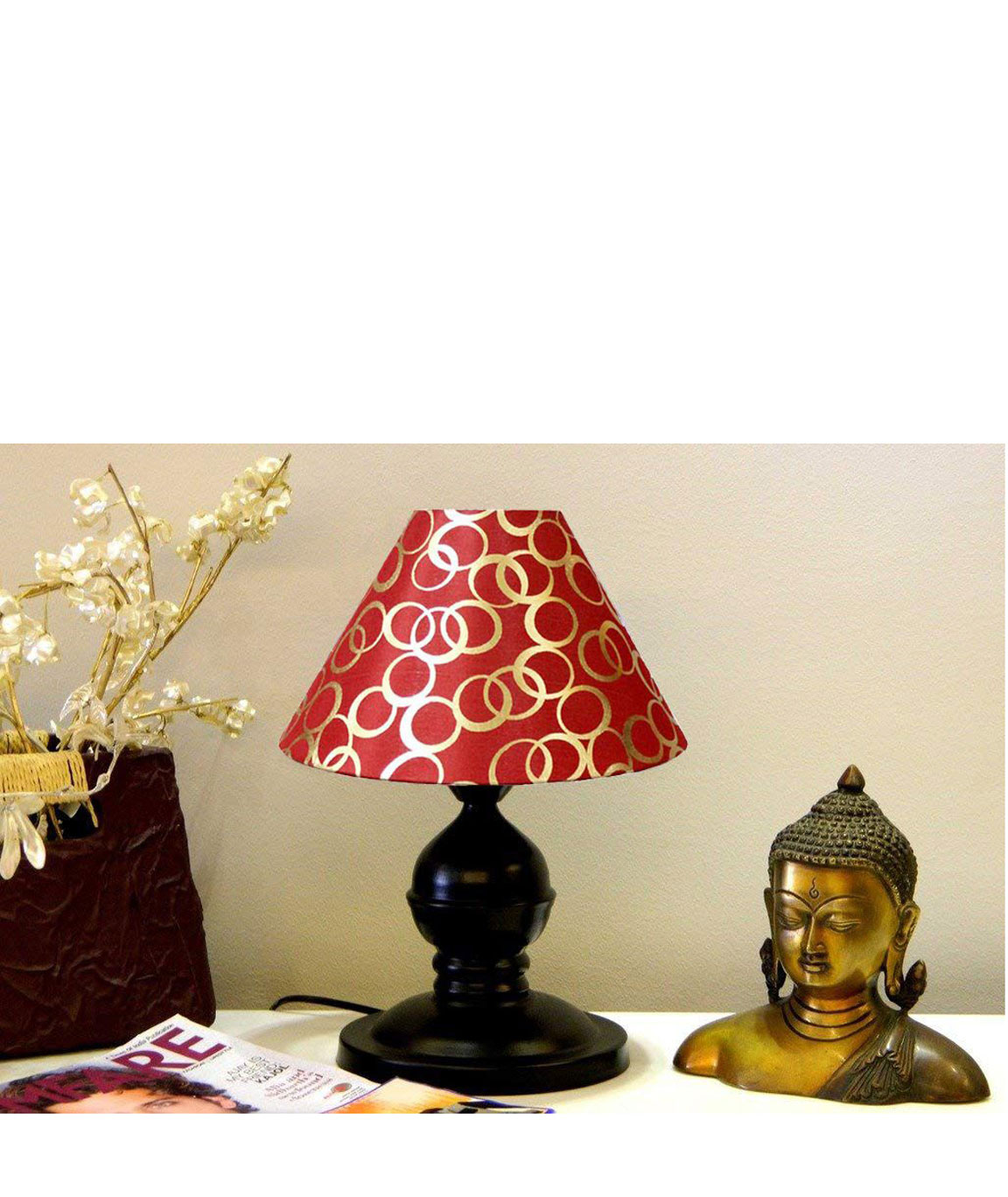 RDC Black Designer Table Lamp with 10 Inches Round Red with Golden Polka Dots Designer Lamp Shade