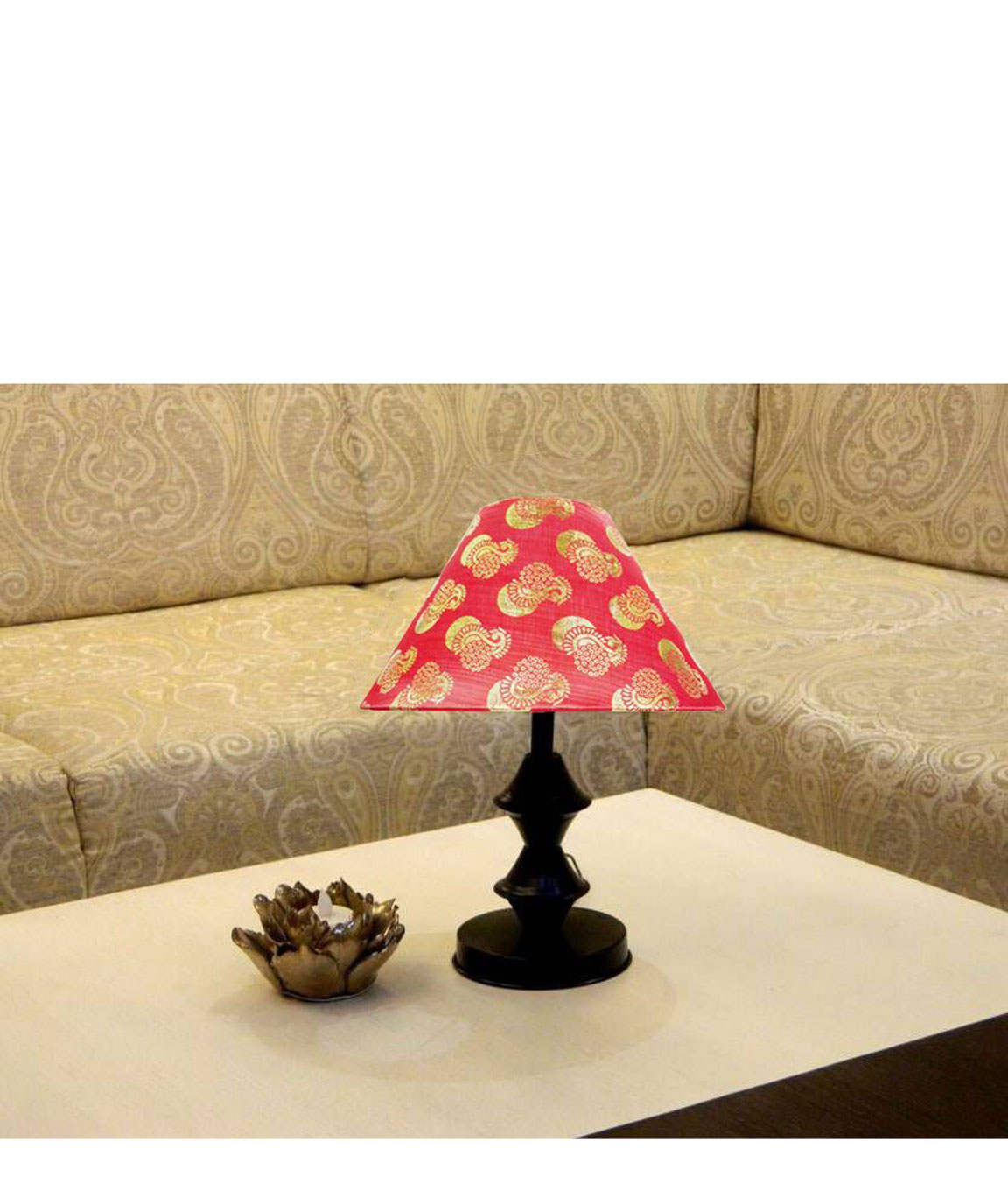 RDC Black Double Ring Stand Table Lamp with 10 Inches Round Red Golden Designer Lamp Shade