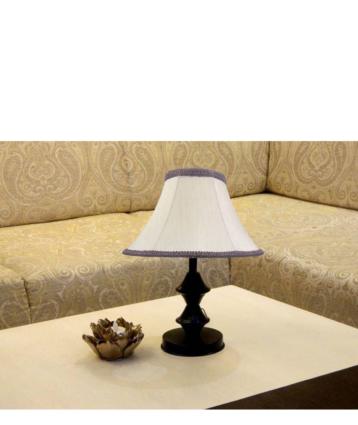 RDC Black Double Ring Stand Table Lamp with 10 Inches Round Slanting Cream-khadi with Brown Lace Border Lamp Shade