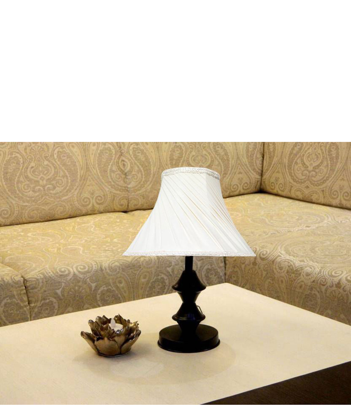 RDC Black Double Ring Stand Table Lamp with 10 Inches Round Slanting Pleated Cream with Lace Border Lamp Shade