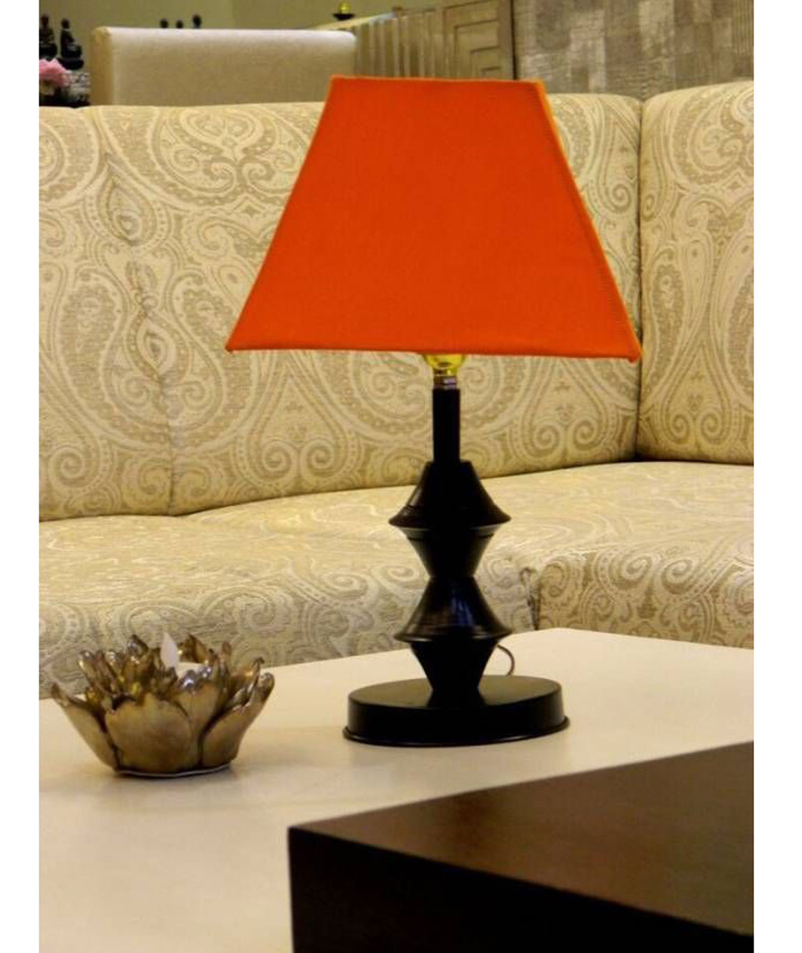 RDC Black Double Ring Stand Table Lamp with 8 Inches Square Plain Orange Lamp Shade