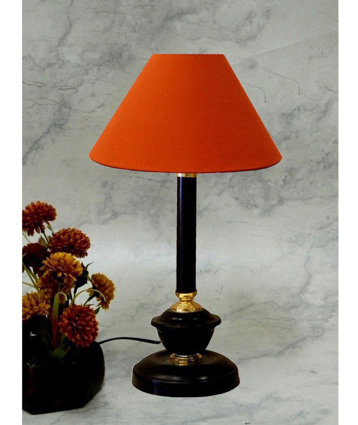 RDC Black Golden Table Lamp with 10 Inches Round Plain Rust-coloured Lamp Shade