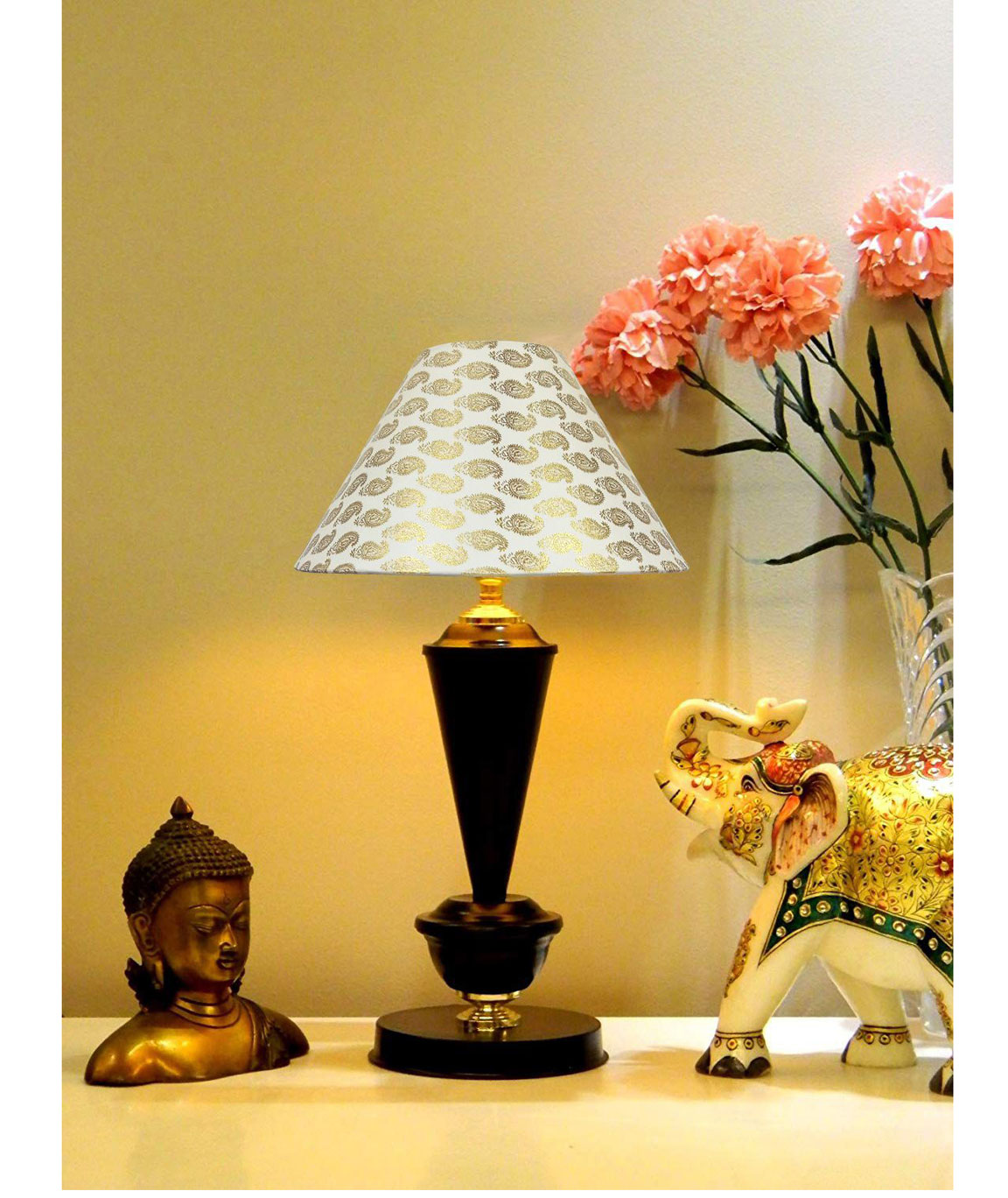 RDC Black with Golden Base Table Lamp with 10 Inches Round Cream Golden Designer Lamp Shade