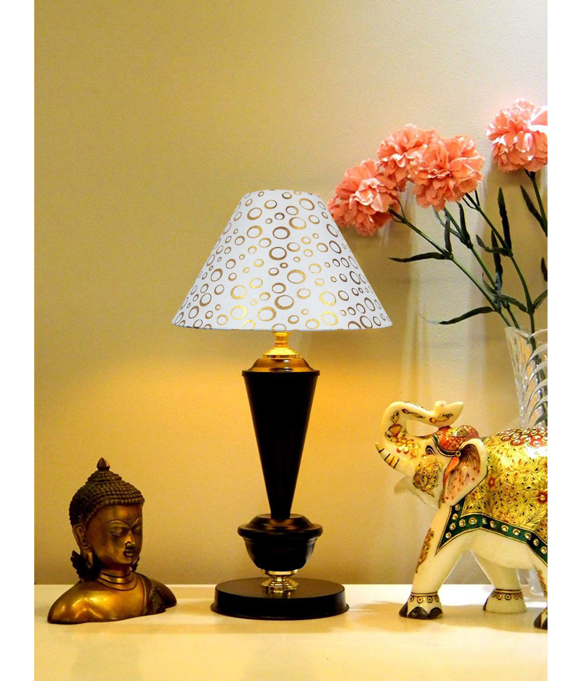 RDC Black with Golden Base Table Lamp with 10 Inches Round White with Golden Polka Dots Designer Lamp Shade