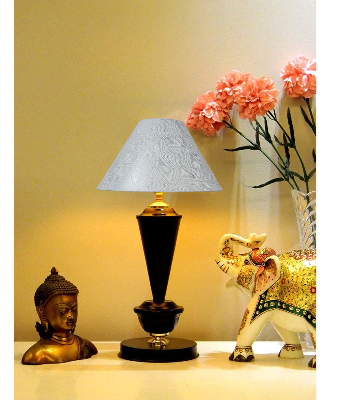 RDC Black with Golden Base Table Lamp with 10 Inches Round White with Silver Polka Dots Designer Lamp Shade