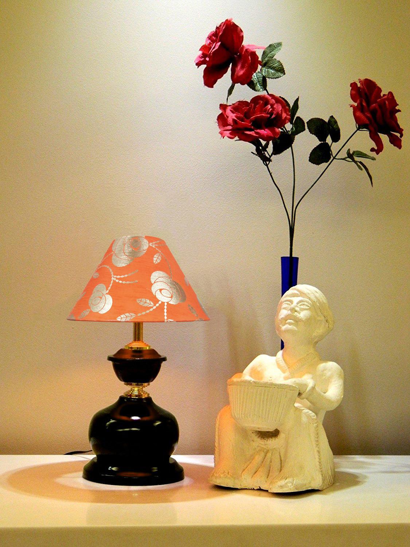 RDC Brown Designer Table Lamp with 10 Inches Round Orange Golden Floral Designer Lamp Shade