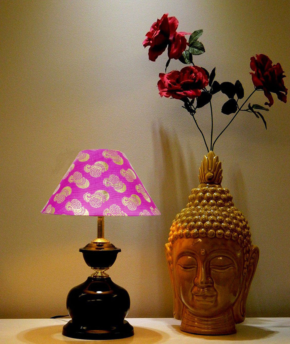 RDC Brown Designer Table Lamp with 10 Inches Round Pink with Golden Designer Lamp Shade