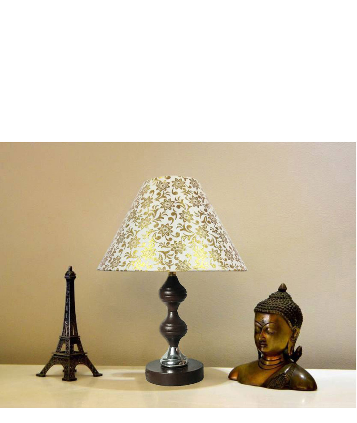 RDC Brown Silver Stand Table Lamp with 10 Inches Round Cream with Golden Designer Lamp Shade