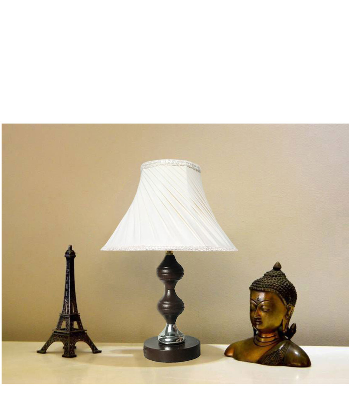 RDC Brown Silver Stand Table Lamp with 10 Inches Round Slanting Pleated Cream with Lace Border Lamp Shade