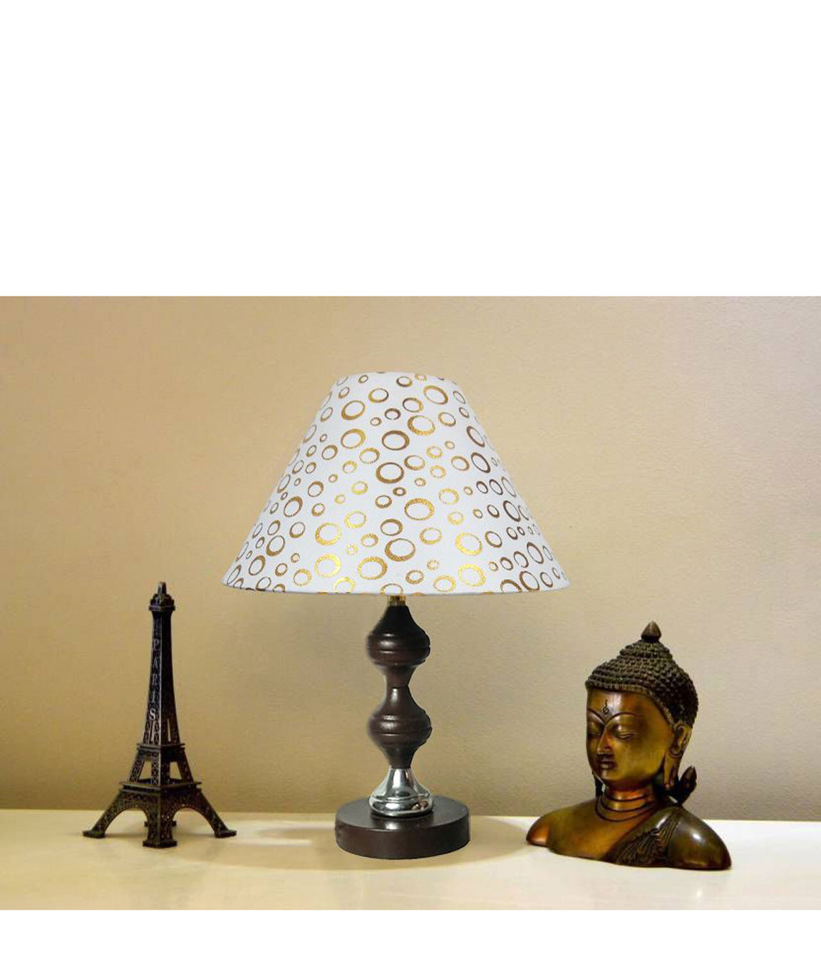 RDC Brown Silver Stand Table Lamp with 10 Inches Round White Golden Polka Dots Designer Lamp Shade