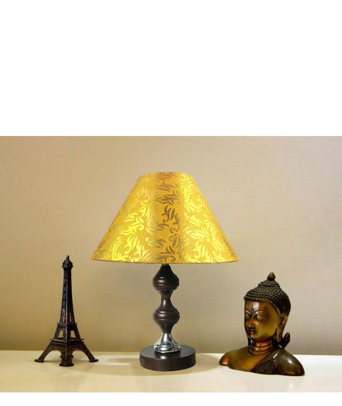 RDC Brown Silver Stand Table Lamp with 10 Inches Round Yellow with Golden Designer Lamp Shade