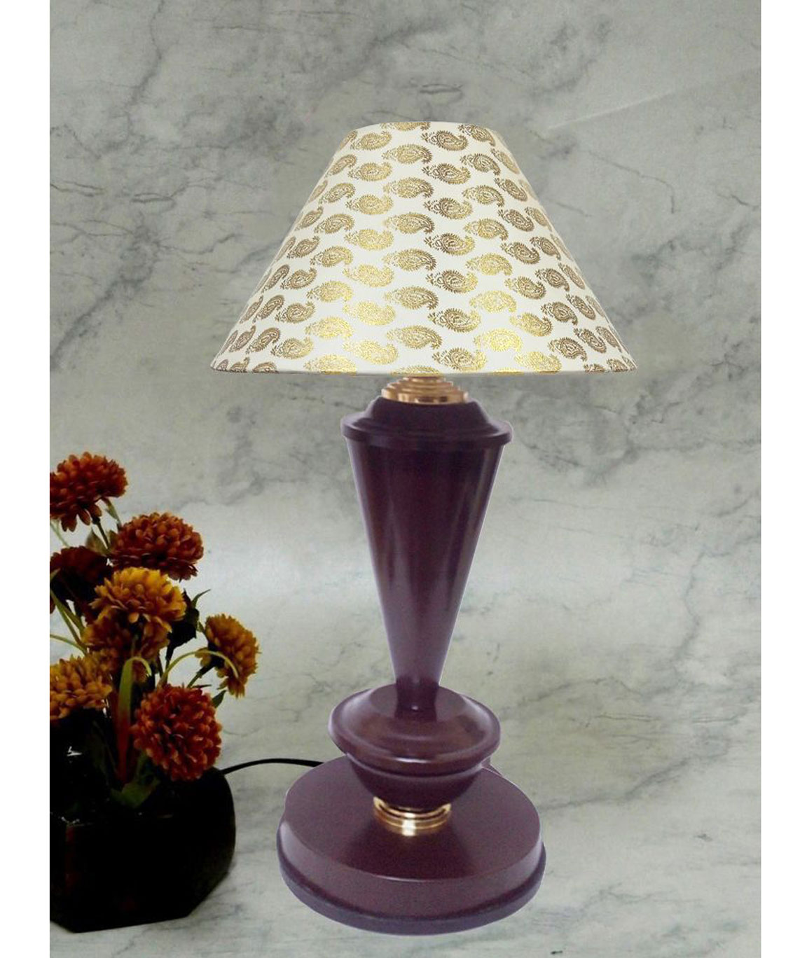 RDC Brown with Golden Base Table Lamp with 10 Inches Round Cream Golden Designer Lamp Shade