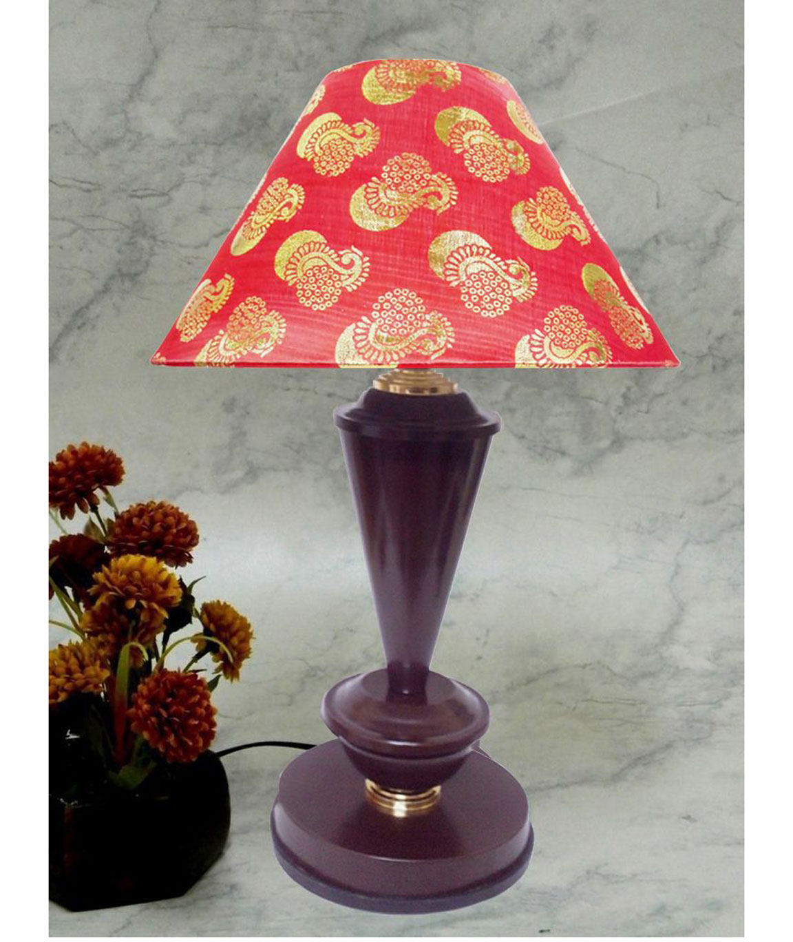 RDC Brown with Golden Base Table Lamp with 10 Inches Round Red Golden Designer Lamp Shade