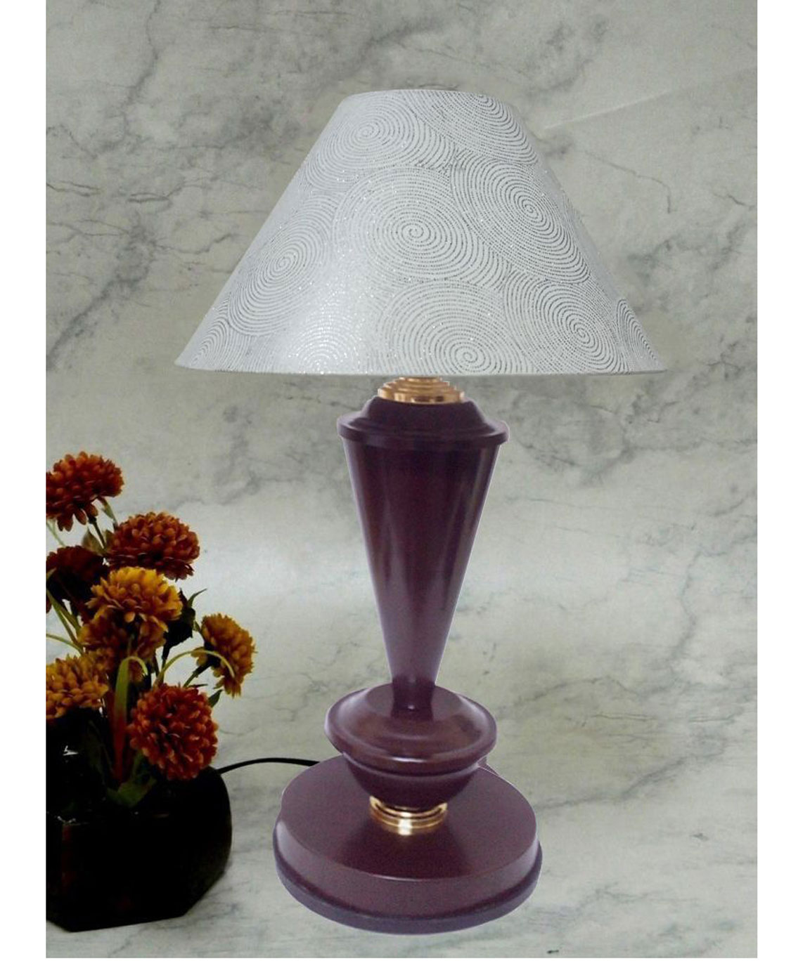 RDC Brown with Golden Base Table Lamp with 10 Inches Round White with Silver Polka Dots Designer Lamp Shade