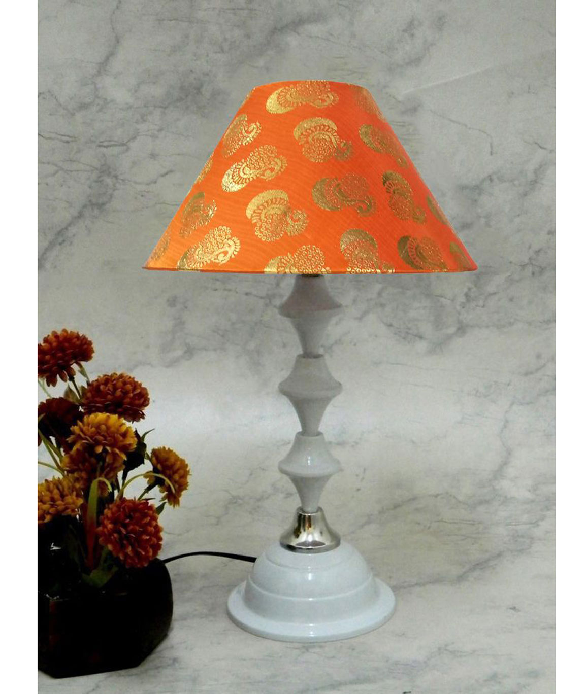 RDC White Silver Table Lamp with 10 Inches Round Orange Golden Design Lamp Shade