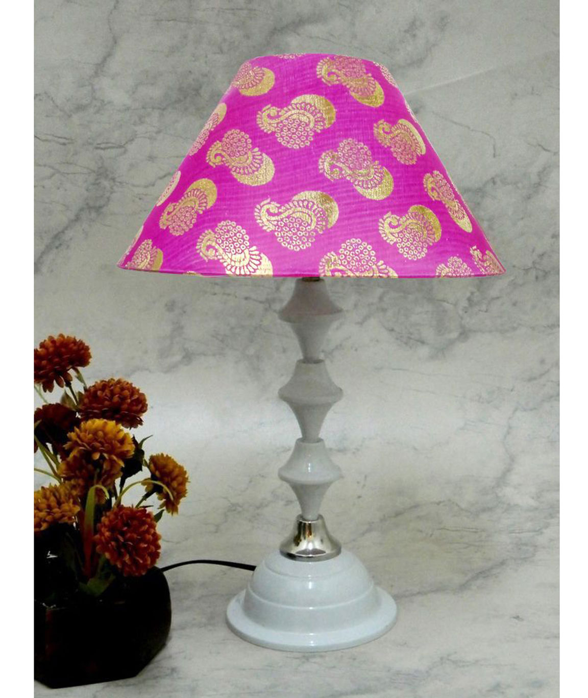 RDC White Silver Table Lamp with 10 Inches Round Pink Golden Designer Lamp Shade