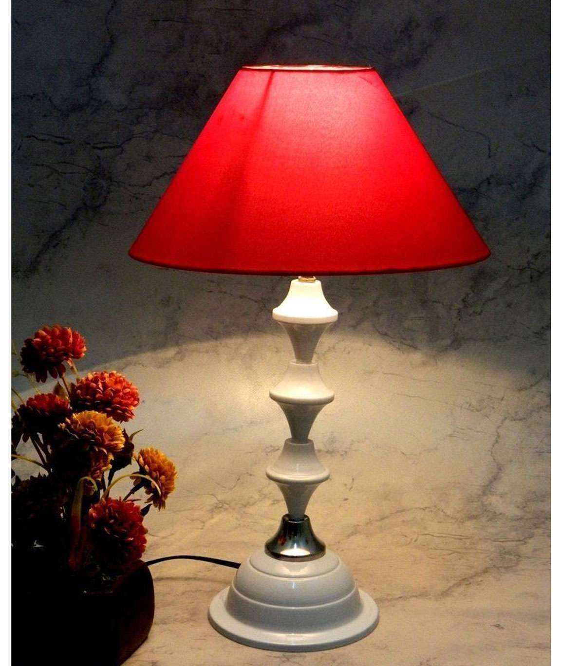RDC White Silver Table Lamp with 10 Inches Round Plain Red Lamp Shade