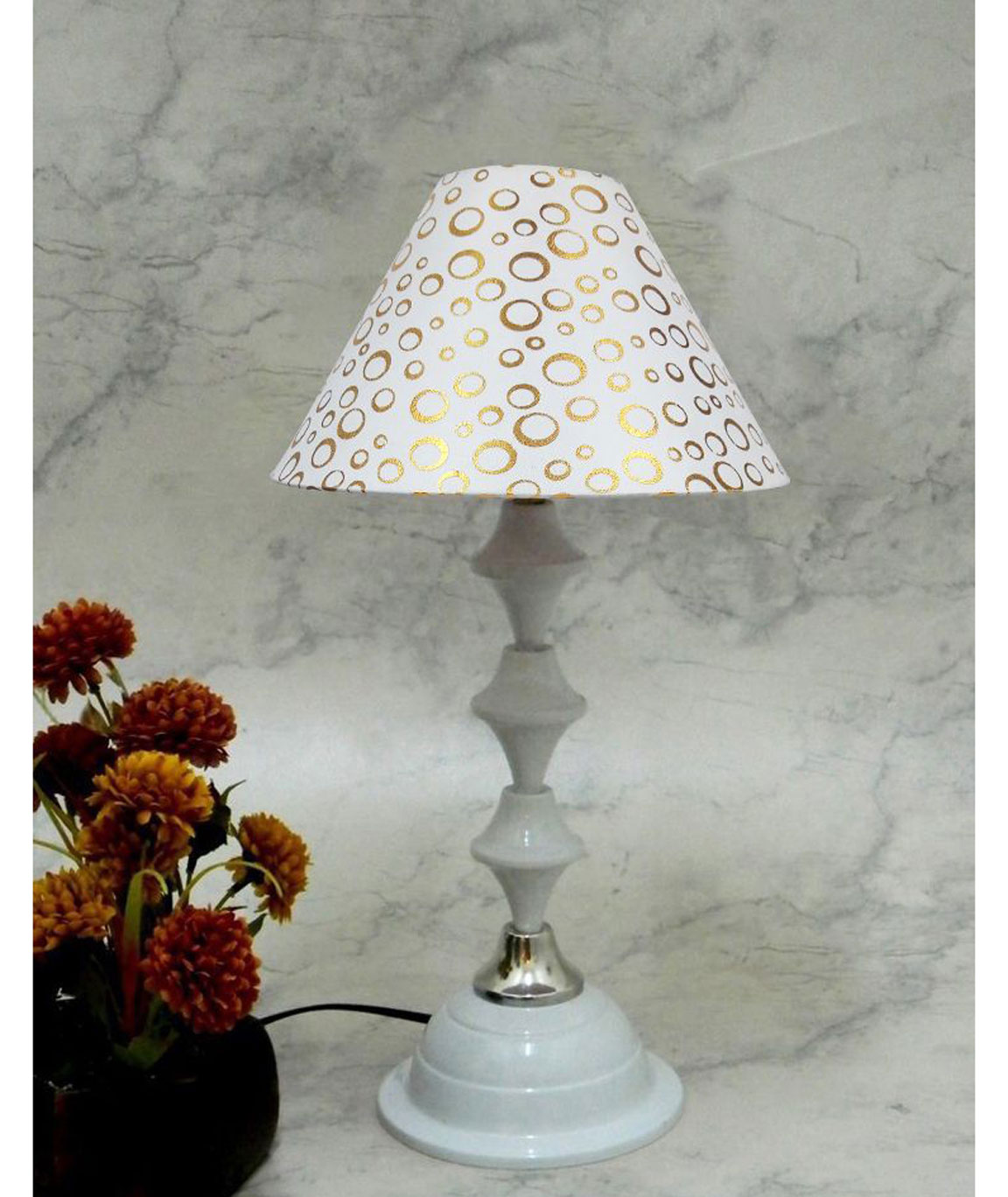 RDC White Silver Table Lamp with 10 Inches Round White Golden Polka Dots Designer Lamp Shade