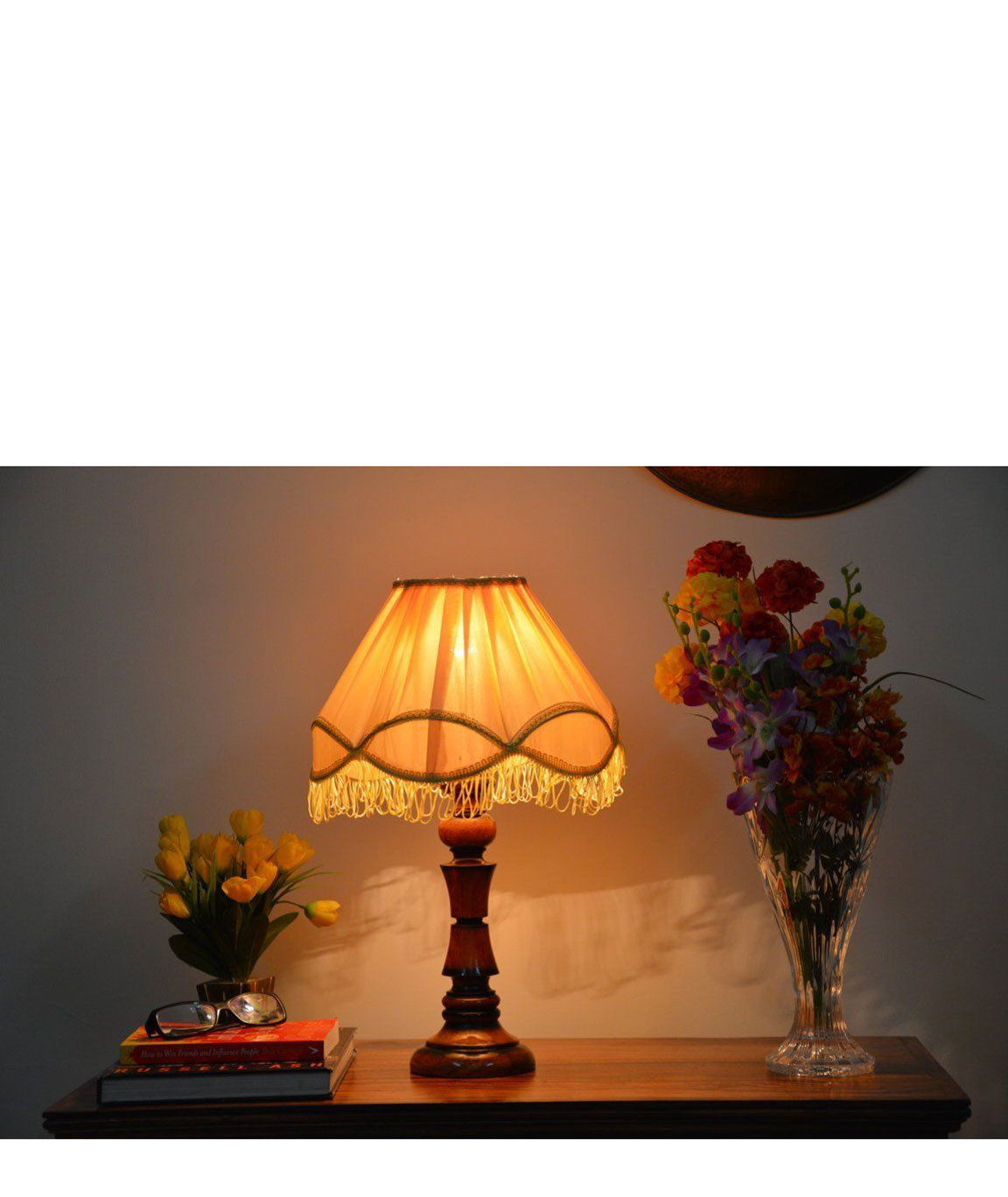 RDC Wooden Designer Table Lamp with 12 Inches Round Pleated Cream with Lace Border with Frills Lamp Shade