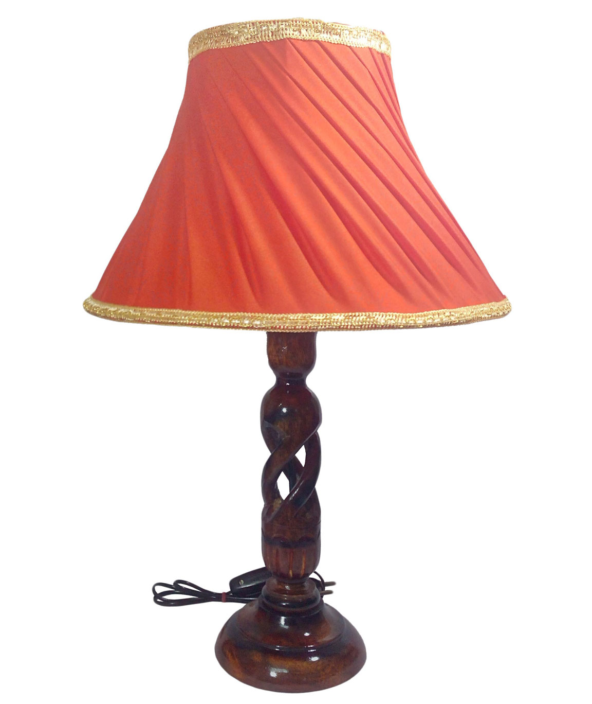 RDC Wooden Designer Table Lamp with 12 Inches Round Slanting Orange with Golden Border Lamp Shade