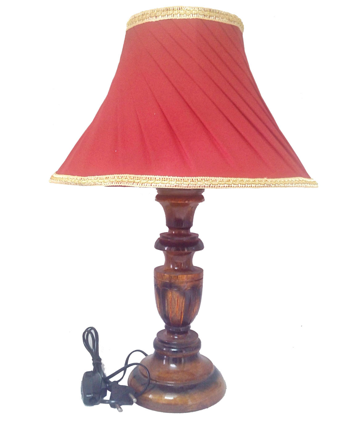 RDC Wooden Designer Table Lamp with 12 Inches Round Slanting Pleated Red with Golden Lace Border Lamp Shade