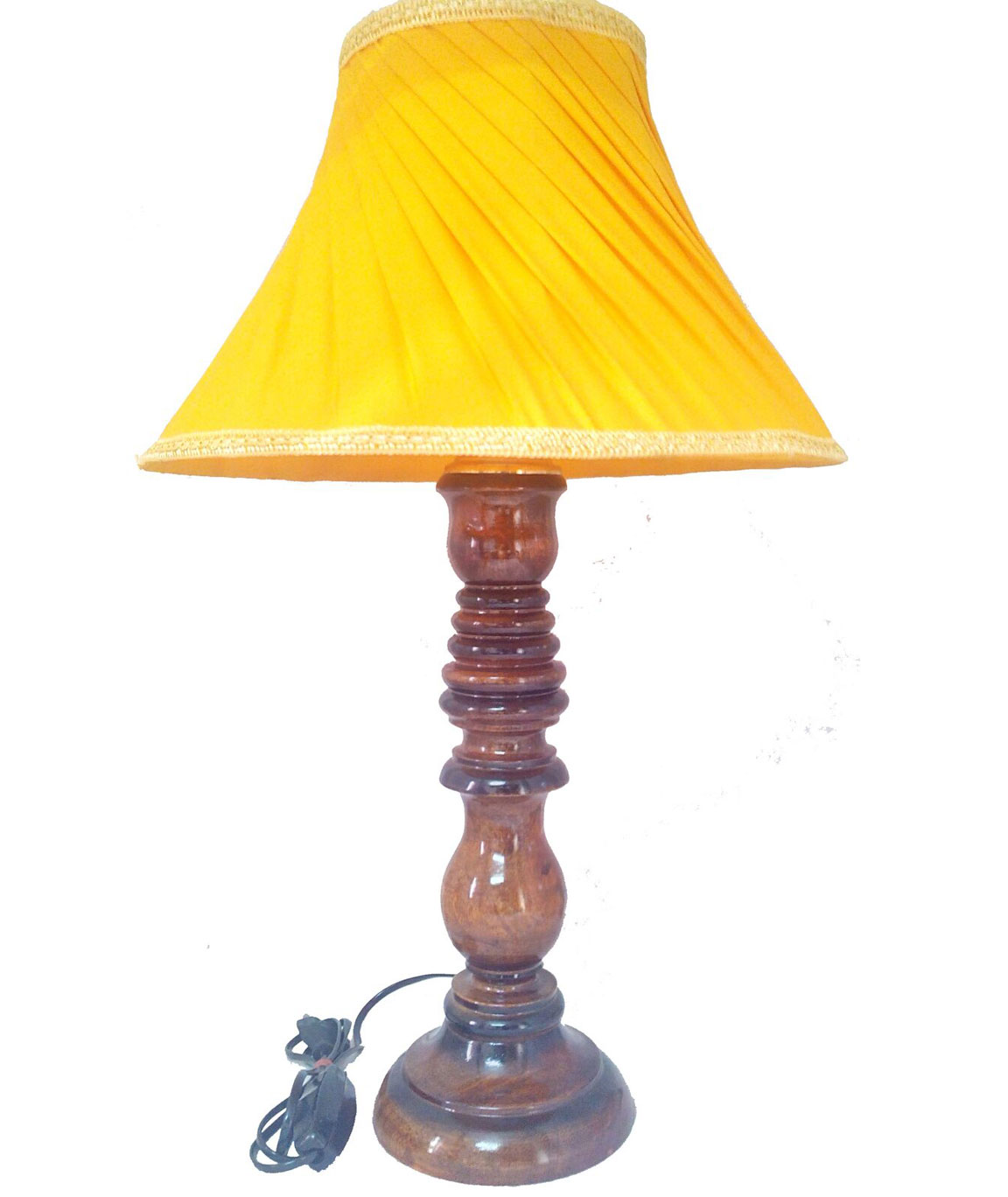 RDC Wooden Designer Table Lamp with 12 Inches Round Slanting Pleated Yellow with Golden Lace Border Lamp Shade