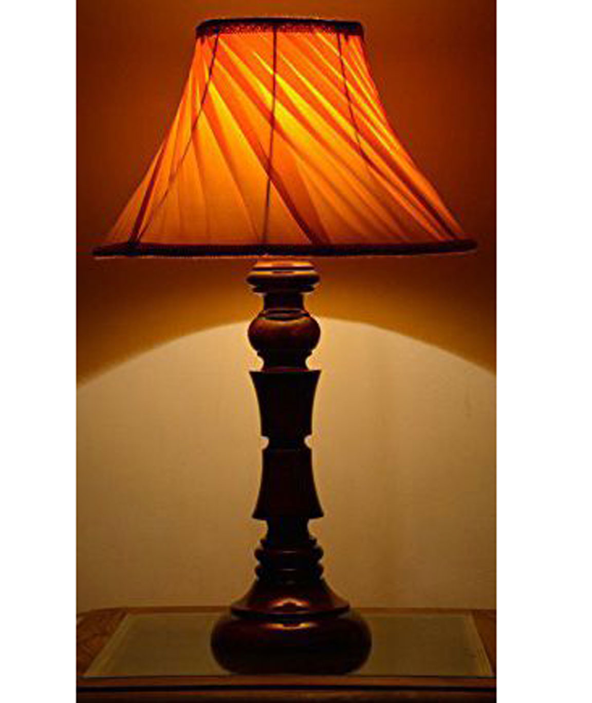 RDC Wooden Designer Table Lamp with 12 Inches Round Slanting Pleated Yellow with Lace Border Lamp Shade