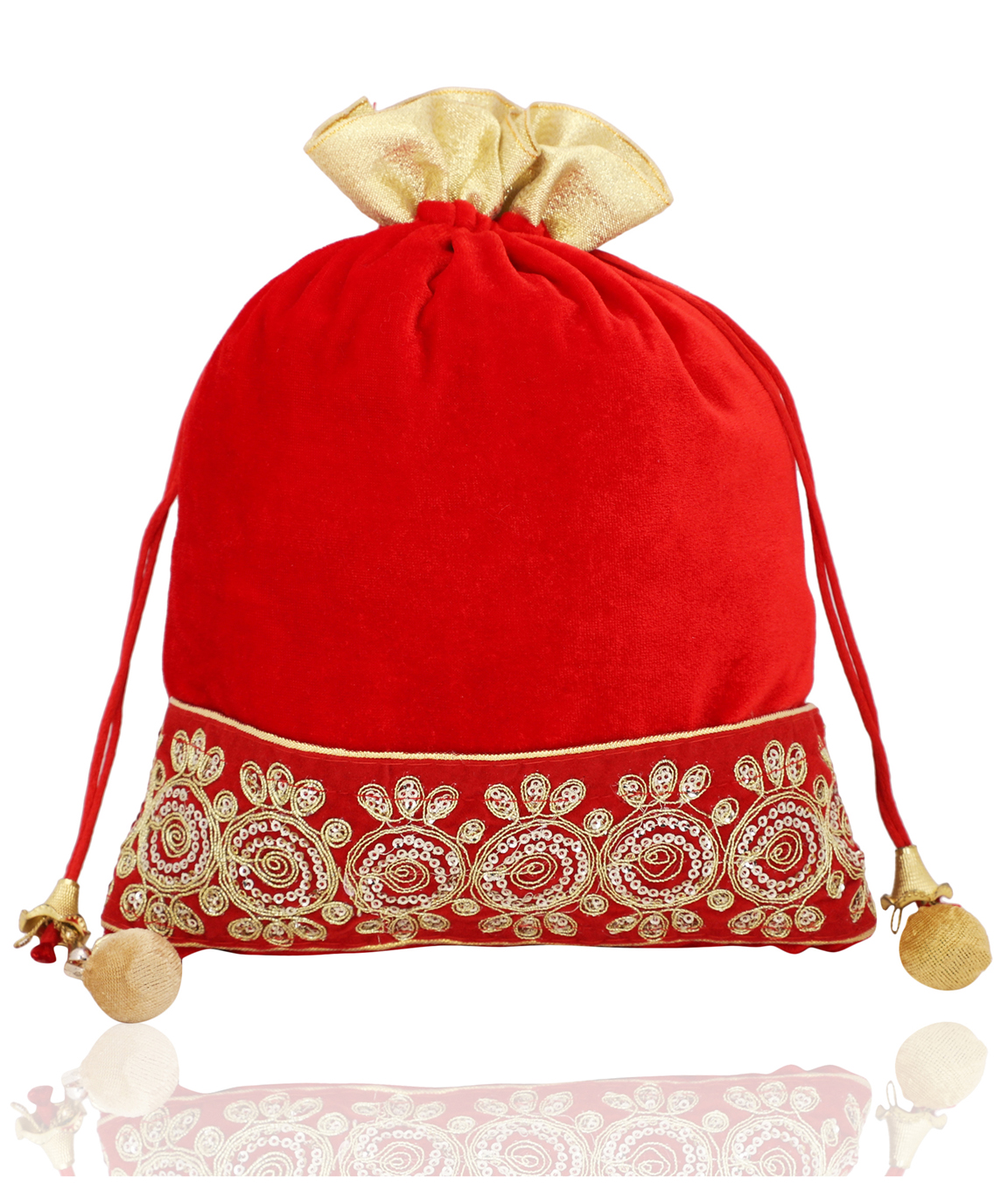 Red Velvet Potli Bag With Golden Tassel(COLOUR : RED)
