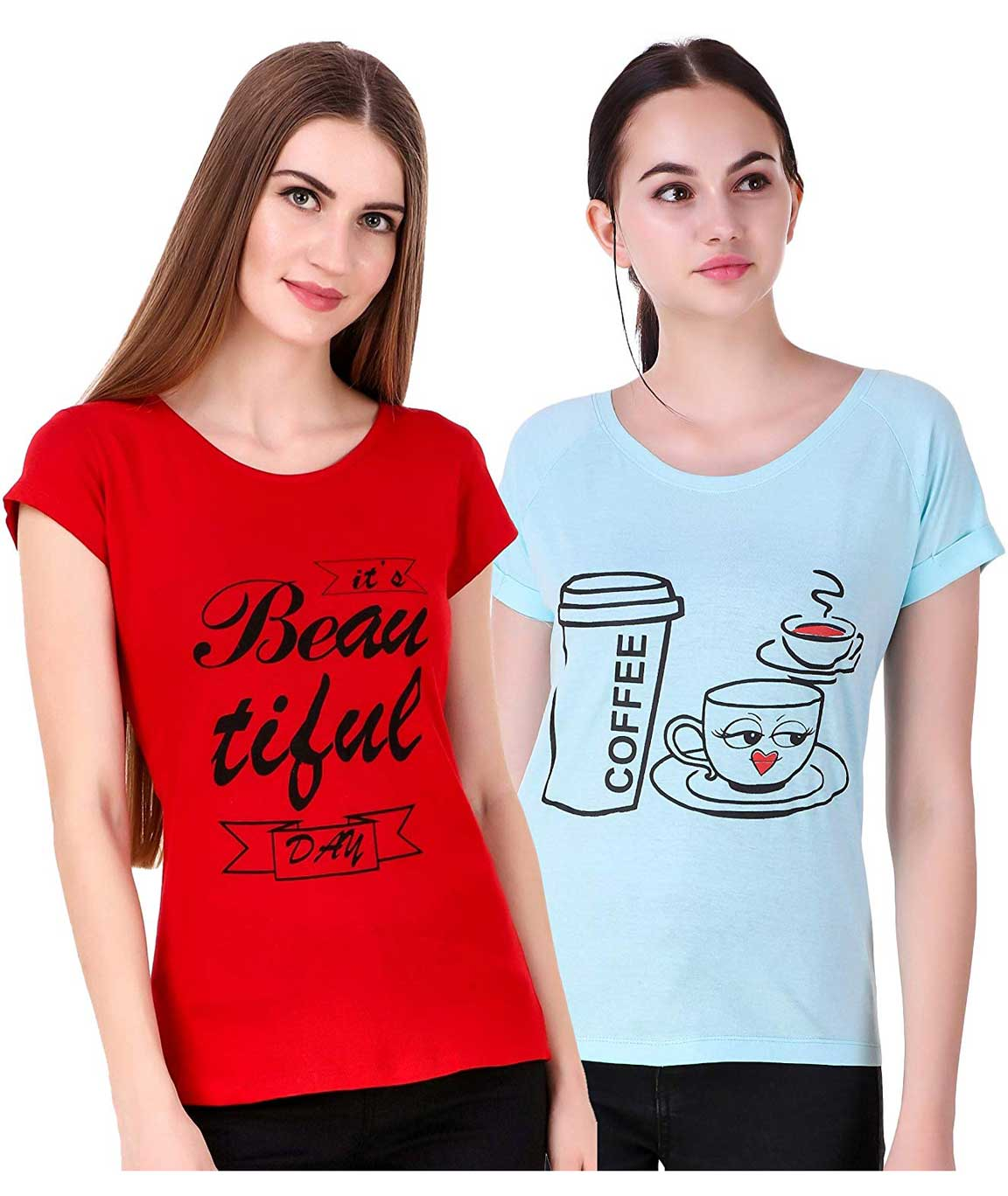 Romaisa Combo of 2 Casual/Western Printed Cotton t-Shirt Tops