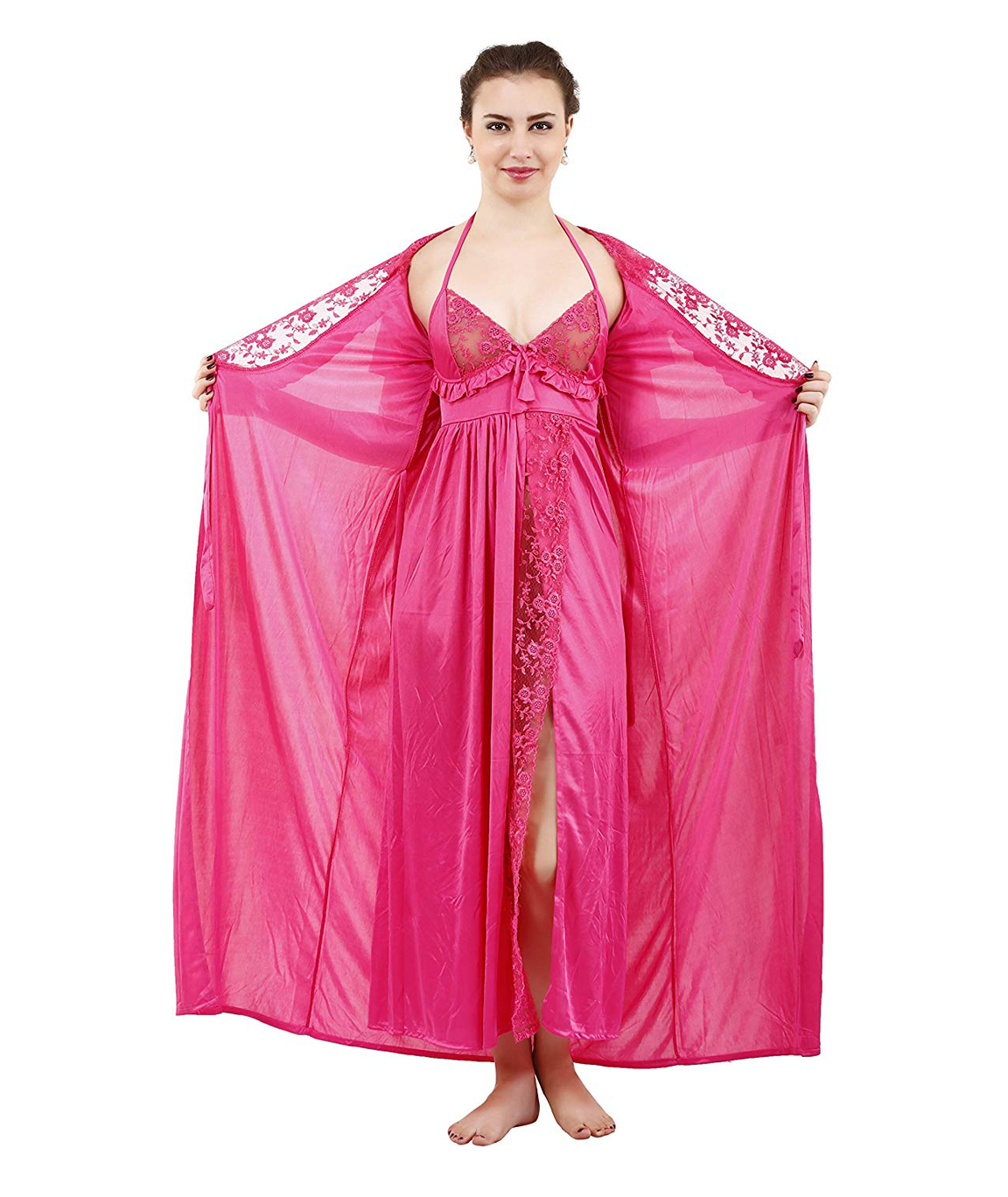 Romaisa Women`s Satin Lace Work Nightdress with Robe (Size - Free) (Pack of 2 Pcs)COLOUR : LIGHT CORAL 1