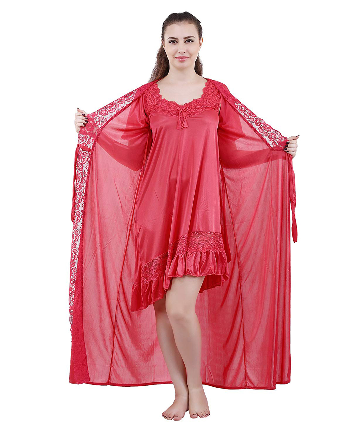 Romaisa Women`s Satin Lace Work Nightdress with Robe (Size - Small, Medium, Large) (Pack of 2 Pcs) COLOUR : LIGHT CORAL