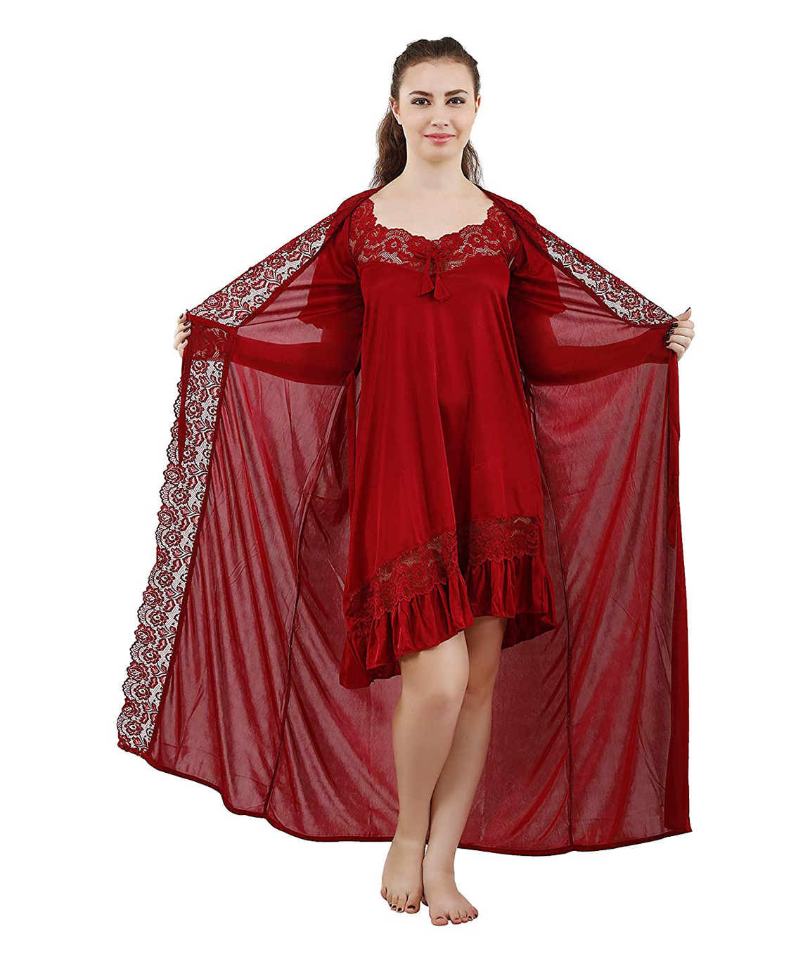 Romaisa Women`s Satin Lace Work Nightdress with Robe (Size - Small, Medium, Large) (Pack of 2 Pcs) COLOUR : MAROON