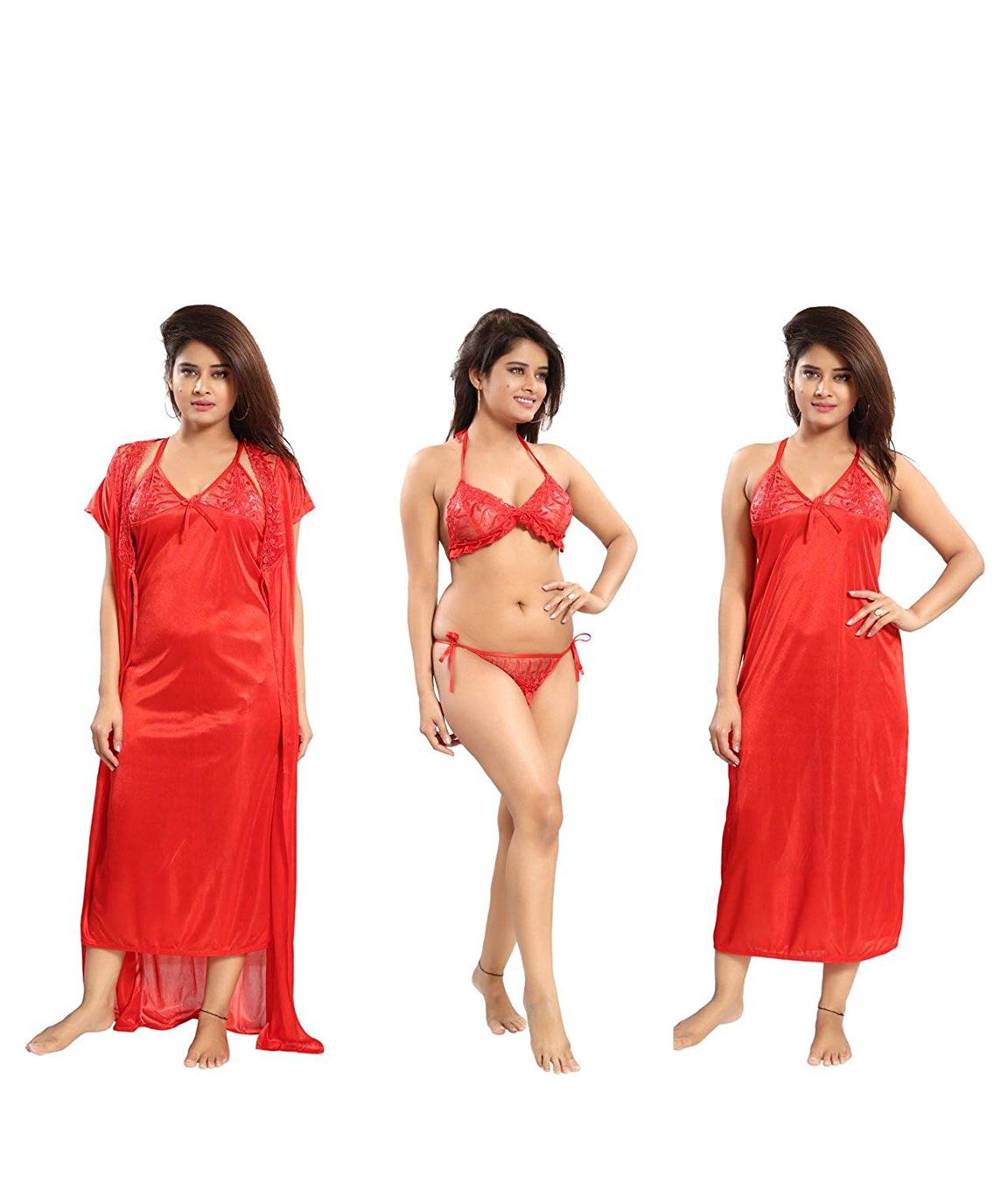 Romaisa Women`s Satin Nightwear Set of 4 Pcs Nighty, Wrap Gown, Bra & Thong (Size - Small, Medium, Large) (Pack of 4) COLOUR : RED