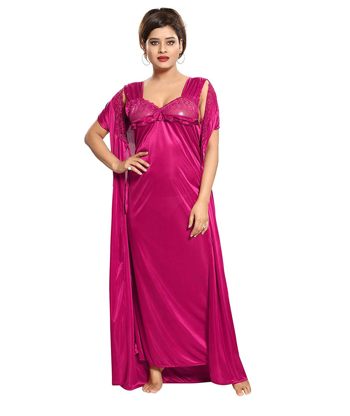 Romaisa Women`s Satin Nightwear Set of 4 Pcs Nighty, Wrap Gown, Top, Capri (Size - Small, Medium, Large) (Pack of 4) COLOUR : MAGENTA