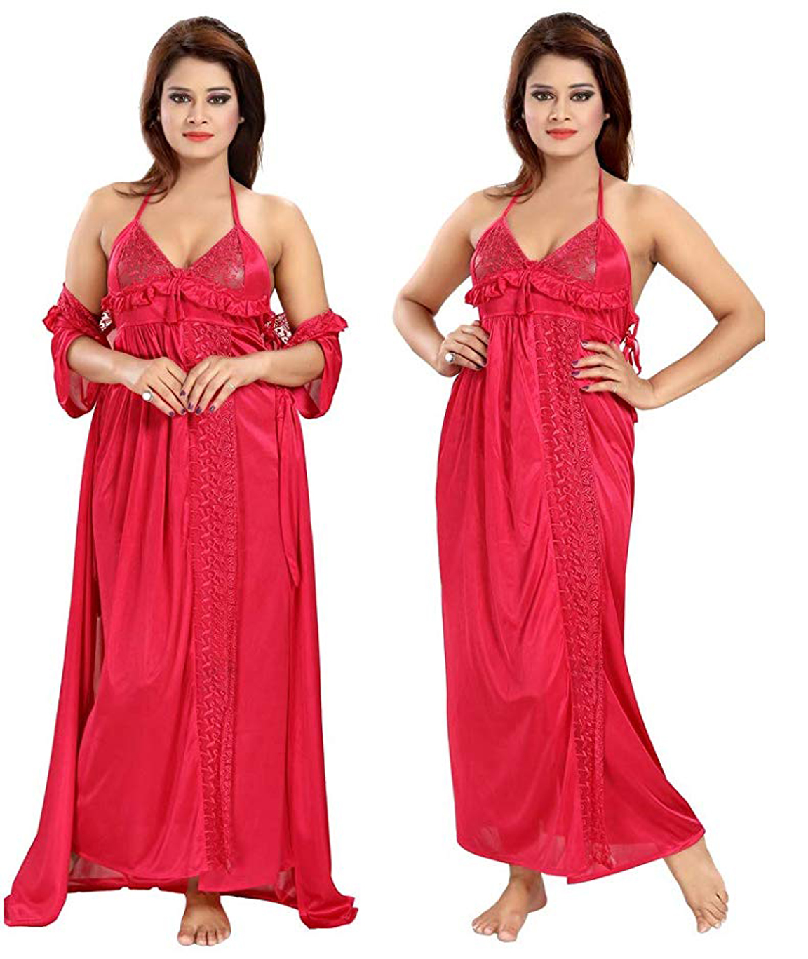 Romaisa Women`s Satin Nightwear Set of 6 Pcs Nighty, Wrap Gown, Top, Capri, Bra & Thong (Free Size) (Pack of 6)