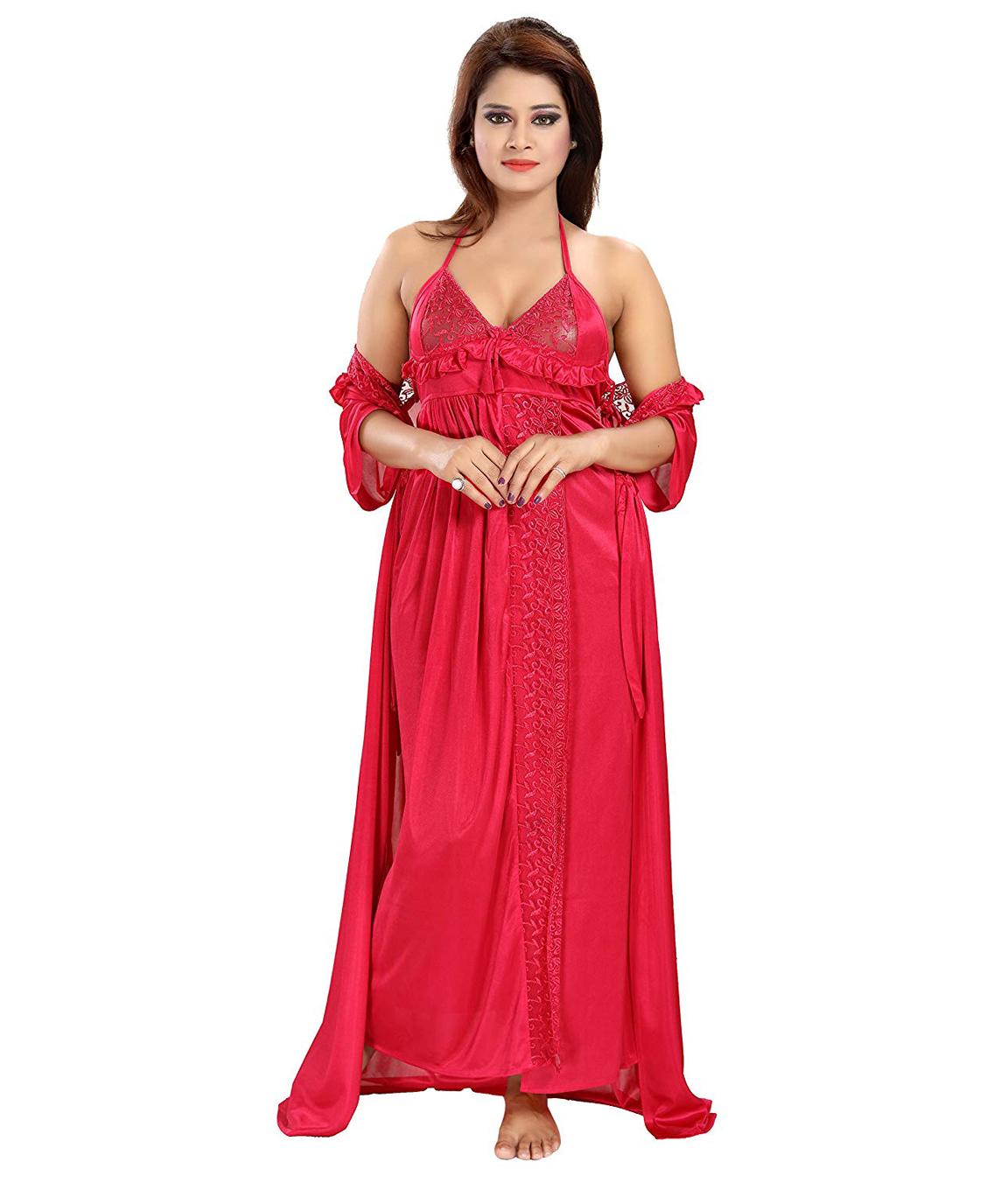 Romaisa Women`s Satin Nightwear Set of 6 Pcs Nighty, Wrap Gown, Top, Capri, Bra & Thong (Size - Small, Medium, Large) (Pack of 6) COLOUR : CRIMSON RED