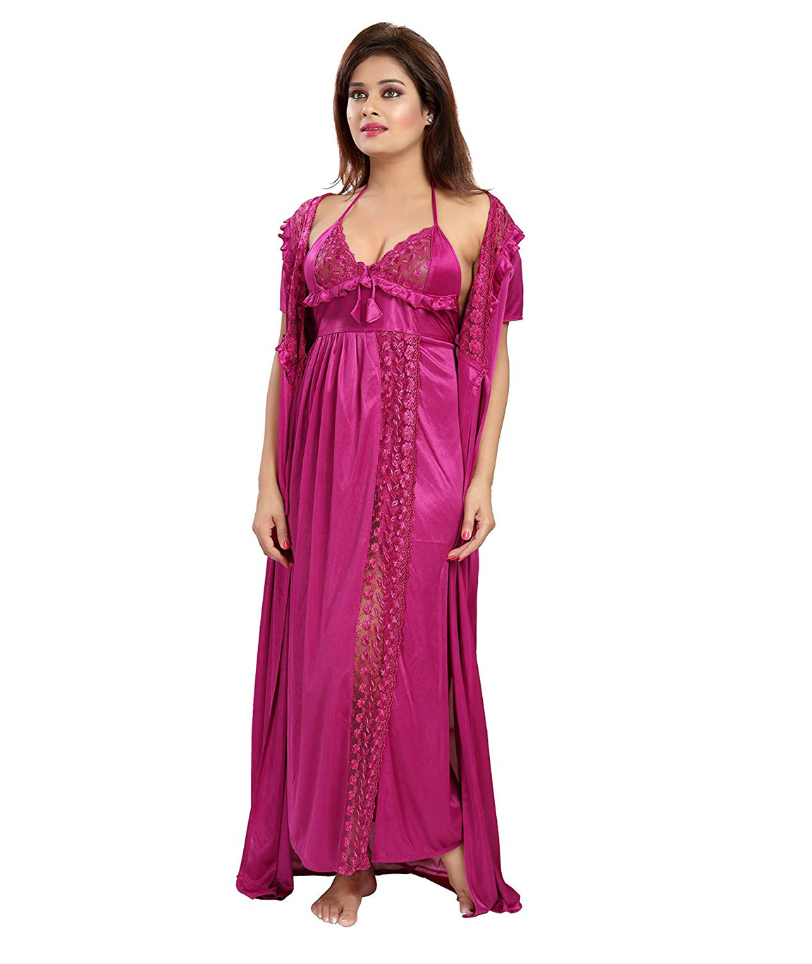 Romaisa Women`s Satin Nightwear Set of 6 Pcs Nighty, Wrap Gown, Top, Capri, Bra & Thong (Size - Small, Medium, Large) (Pack of 6) COLOUR : DARK MAGENTA
