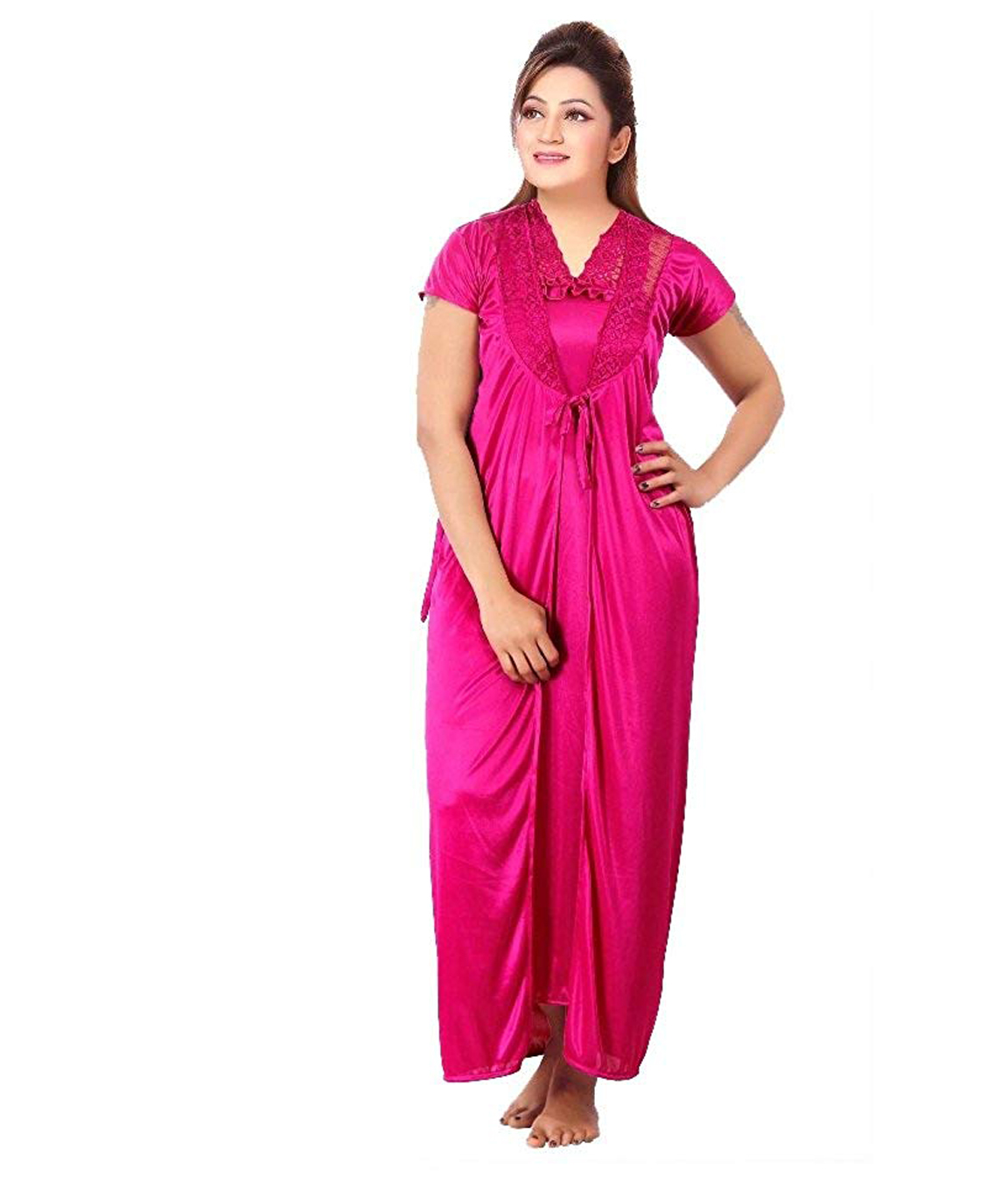 Romaisa Women`s Satin Nighty, Wrap Gown, Top, Pajama, Bra and Thong (Free Size) (Pack of 6) COLOUR : MAGENTA